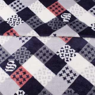 Велсофт двухсторонний в серые, синие, белые квадратики с узорами, ш.185 оптом