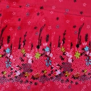 Велсофт двухсторонний красный купон цветы ш.190 оптом