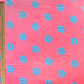 Велсофт розовый в голубые цветочки, ш.220 оптом