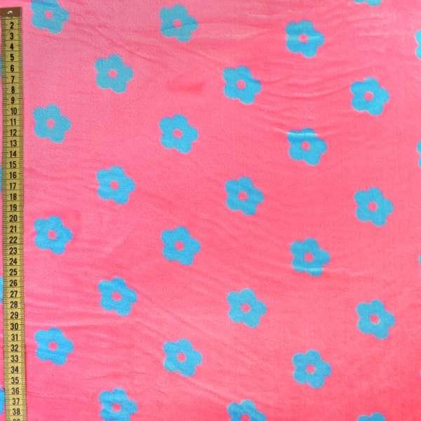 Велсофт двухсторонний розовый в голубые цветочки, ш.220 оптом