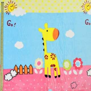 Велсофт двухсторонний голубой, жирафы, цветы, облака, розовая кайма, ш.220 оптом