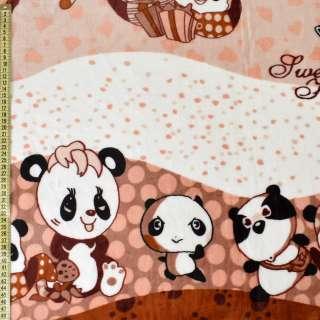 Велсофт коричневый, мишки-панды, ш.220 оптом