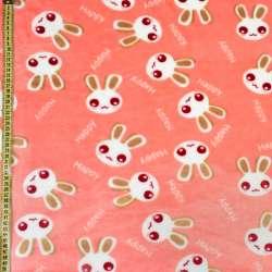Велсофт двухсторонний персиковый, белые зайчики, ш.220