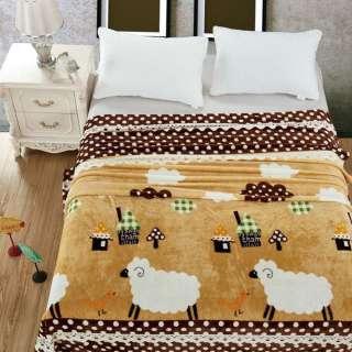Велсофт двухсторонний бежевый, домики, овечки, коричневая кайма в белый горох, ш. 220 оптом