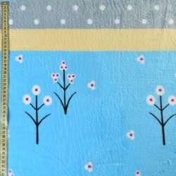 Велсофт двухсторонний голубой светлый, желтые, серые полоски, белые цветы, горох, ш.220