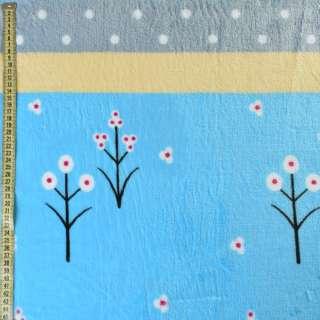 Велсофт двухсторонний голубой светлый, желтые, серые полоски, белые цветы, горох, ш.220 оптом