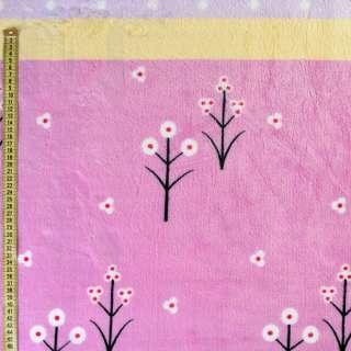 Велсофт бузковий, жовті, лавандові смужки, білі квіти, горох, ш.220 оптом