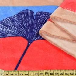 Велсофт двухсторонний бежевый, голубые, синие, алые полоски, синие листья, ш.220
