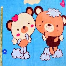 Велсофт двухсторонний голубой, бежевые мишки, щенки, ш.220