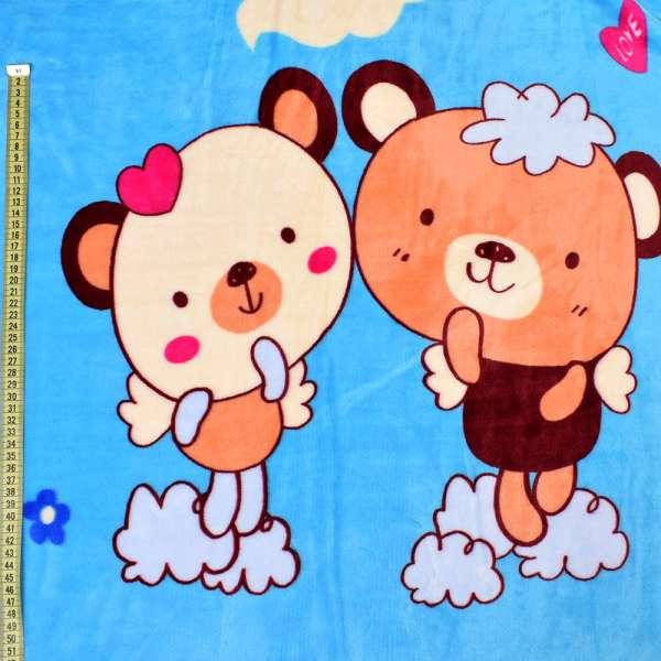 Велсофт двухсторонний голубой, бежевые мишки, щенки, ш.220 оптом
