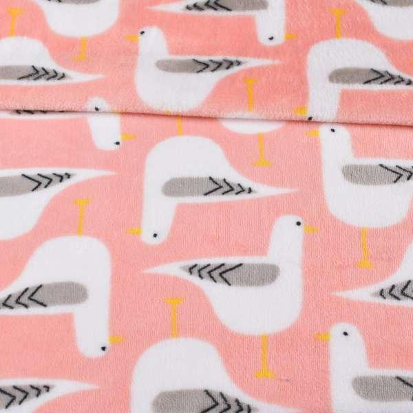 Велсофт двухсторонний розовый, белые птички, ш.220 оптом