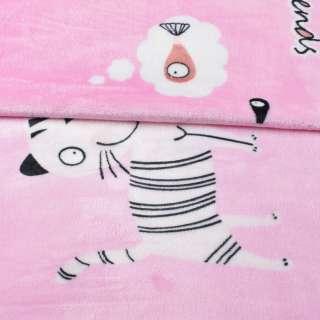 Велсофт двосторонній рожевий, білі кішки, ш.230 оптом