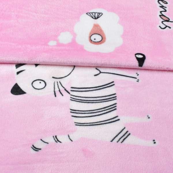 Велсофт двухсторонний розовый, белые кошки, ш.230 оптом