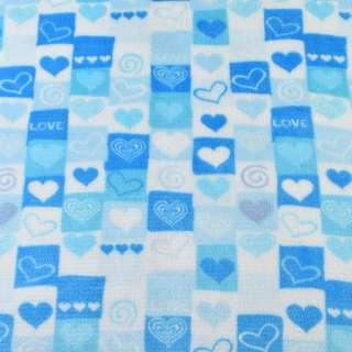 Велсофт двосторонній біло-блакитний в серця і квадрати ш.186 оптом