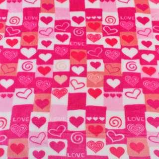 Велсофт двухсторонний бело-розовый в сердца и квадраты ш.195-185 оптом