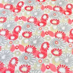 Велсофт двухсторонний белый в серо-желто-красные цветы ш.185