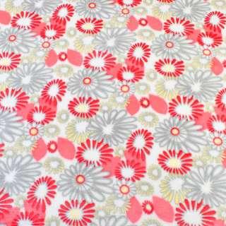 Велсофт двосторонній білий в сіро-жовто-червоні квіти ш.185 оптом