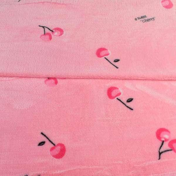 Велсофт двухсторонний розовый, красные вишни, ш.185 оптом