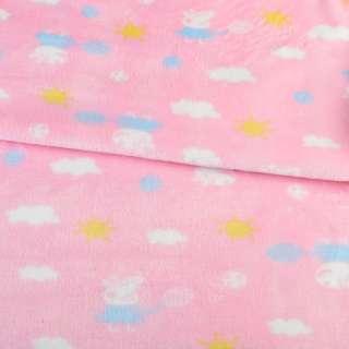 Велсофт двухсторонний розовый, свинка Пеппа, облака, солнце, ш.185 оптом