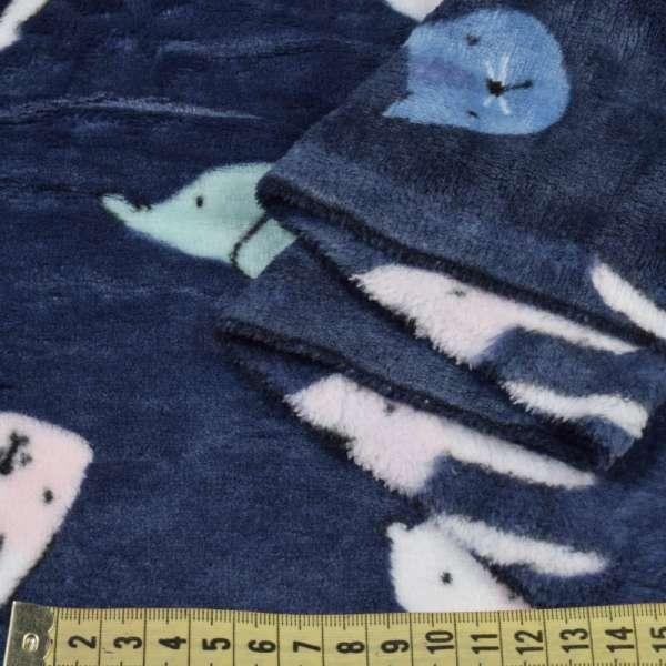 Велсофт двухсторонний синий, разноцветные котики, зайки, мишки, ш.190 оптом
