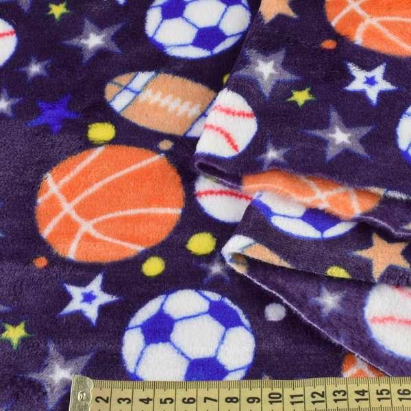 Велсофт двухсторонний синий, спортивные мячи, звезды, ш.180 оптом