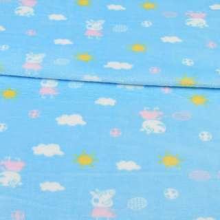 Велсофт двухсторонний голубой, свинка Пеппа, облака, солнце, ш.185 оптом