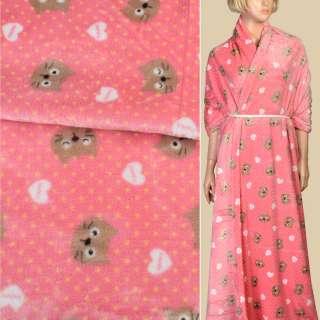 Велсофт двухсторонний розовый в желтый горох, бежевые кошечки, сердечки, ш.185 оптом