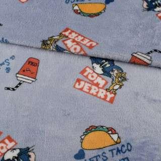 Велсофт двосторонній сіро-блакитний, Том і Джеррі, ш.185 оптом