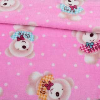 Велсофт двосторонній рожевий, бежеві ведмедики, ш.185 оптом
