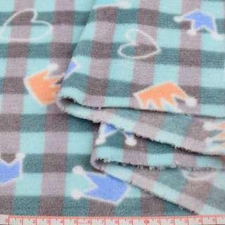Велсофт двосторонній в бірюзово-сіру клітку, кольорові корони, сердечка, ш.185 оптом