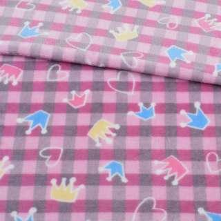 Велсофт двосторонній в рожево-сіру клітку, кольорові корони, сердечка, ш.185 оптом