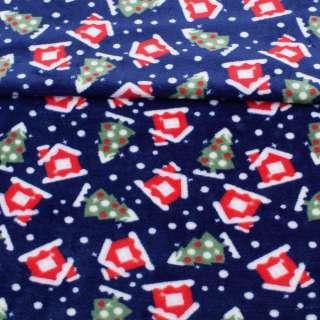 Велсофт двосторонній синій, червоні будиночки, зелені ялинки, ш.185 оптом