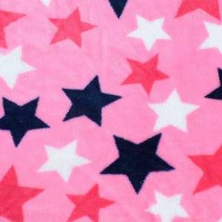 Велсофт двосторонній рожевий яскравий, сині, білі, малинові зірки, ш.180 оптом
