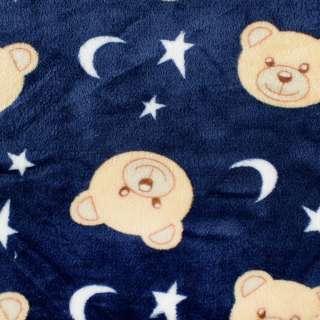 Велсофт двосторонній синій, бежеві ведмедики, білі зірочки, ш.185 оптом