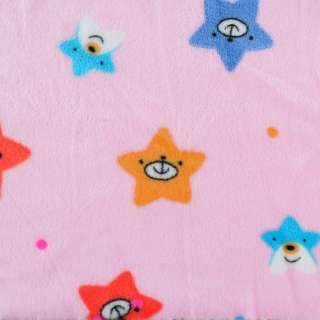 Велсофт двосторонній рожевий, веселі зірочки, ш.190 оптом