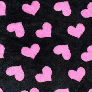 Велсофт двосторонній чорний, рожеві сердечка, ш.185 оптом