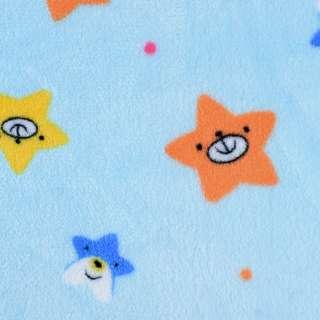 Велсофт двосторонній блакитний, веселі зірочки, ш.180 оптом