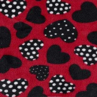 Велсофт двосторонній червоний, чорні сердечка, ш.185 оптом