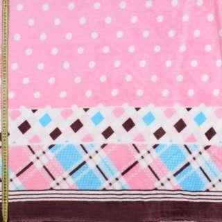 Велсофт двухсторонний розовый в белый горох, кайма в клетку, 2ст.купон, ш.175 оптом