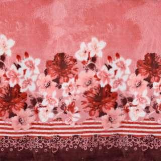 Велсофт двухсторонний розовый, кайма цветы, 2ст.купон, ш.188 оптом