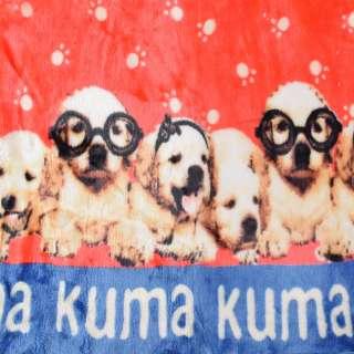Велсофт двухсторонний красный, белые лапки, щенки, 2ст купон, ш.180 оптом