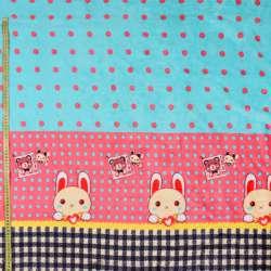 Велсофт двосторонній м'ятний в рожевий горох, зайчик, рожева облямівка, 2ст.купон, ш.185