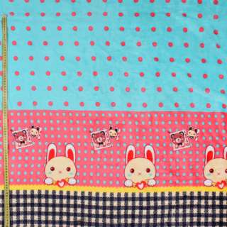 Велсофт двухсторонний мятный в розовый горох, зайчик, розовая кайма, 2ст.купон, ш.185 оптом