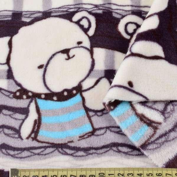 Велсофт двосторонній молочний в фіолетову клітку, облямівка ведмедики, 2ст.купон, ш.180 оптом