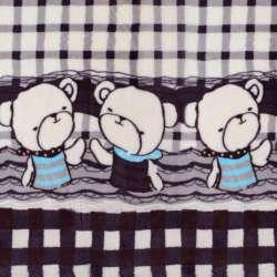 Велсофт двосторонній молочний в фіолетову клітку, облямівка ведмедики, 2ст.купон, ш.180