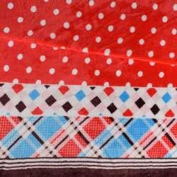 Велсофт двосторонній червоний, облямівка в клітку, 2ст.купон, ш.185