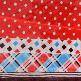 Велсофт двосторонній червоний, облямівка в клітку, 2ст.купон, ш.185 оптом