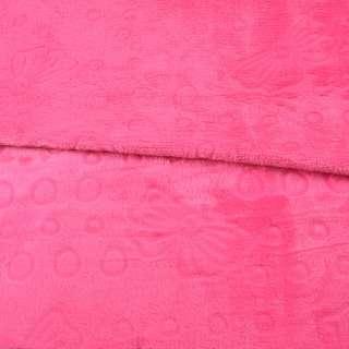 Велсофт двосторонній з тисненням бантики рожевий яскравий, ш.200 оптом