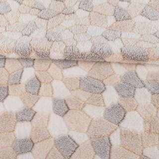 Велсофт рельефный бежево-белый камешки, ш.180 оптом