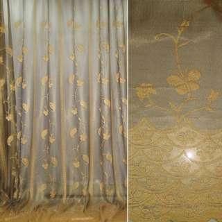 Сетка жаккардовая оливковая с золотой вышивкой оптом